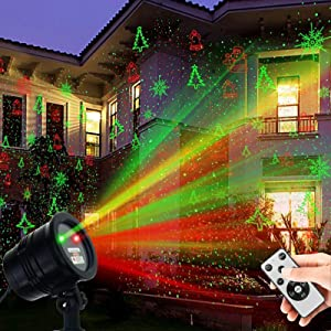 Christmas Projector Lights Outdoor, Weatherproof Christmas Laser Lights Landscape Spotlight Decorative Stage Lights with Red and Green Xmas Patterns for Party Garden Patio Wall Ceiling Floor