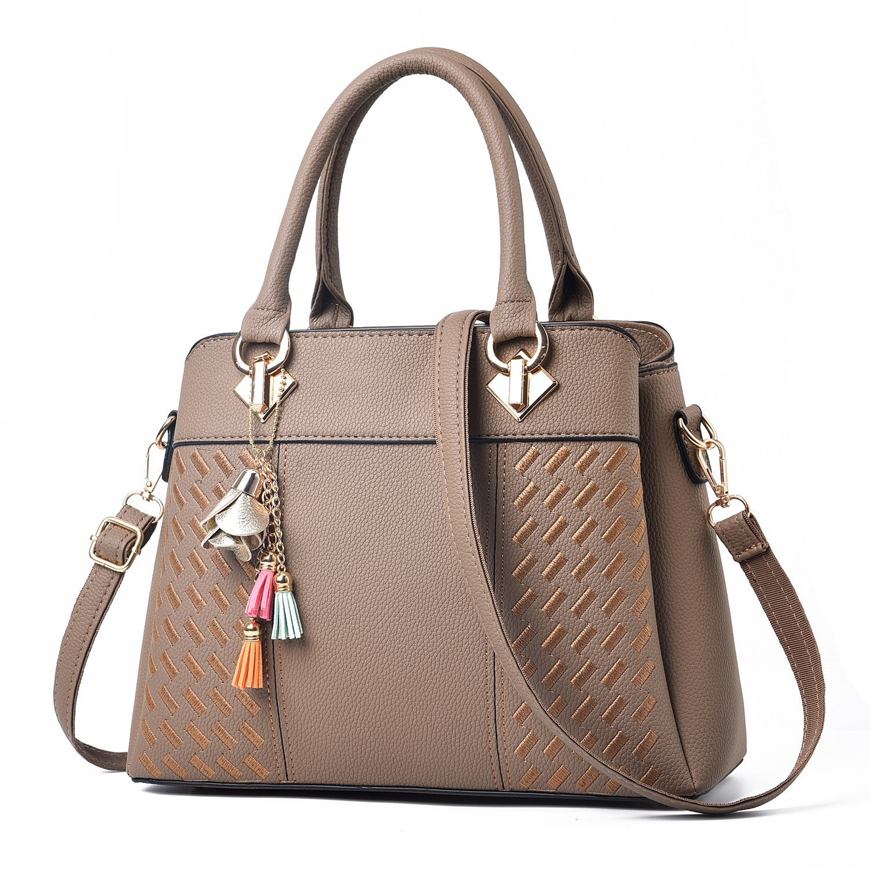 Vincico Khaki Tote Bags for Women Designer Handbags Shoulder Purse Ladies Satchel Bag Faux Leather