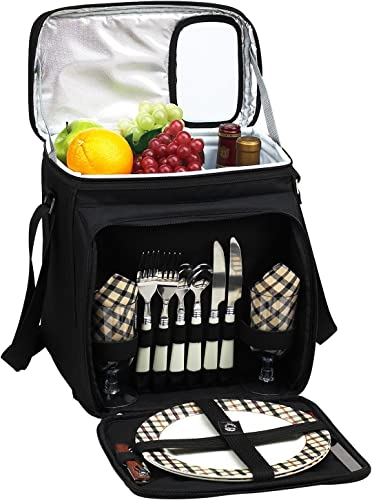 Picnic at Ascot Original Insulated Picnic Basket Cooler Equipped with Service for 2- Designed, Assembled Quality Approved in the USA