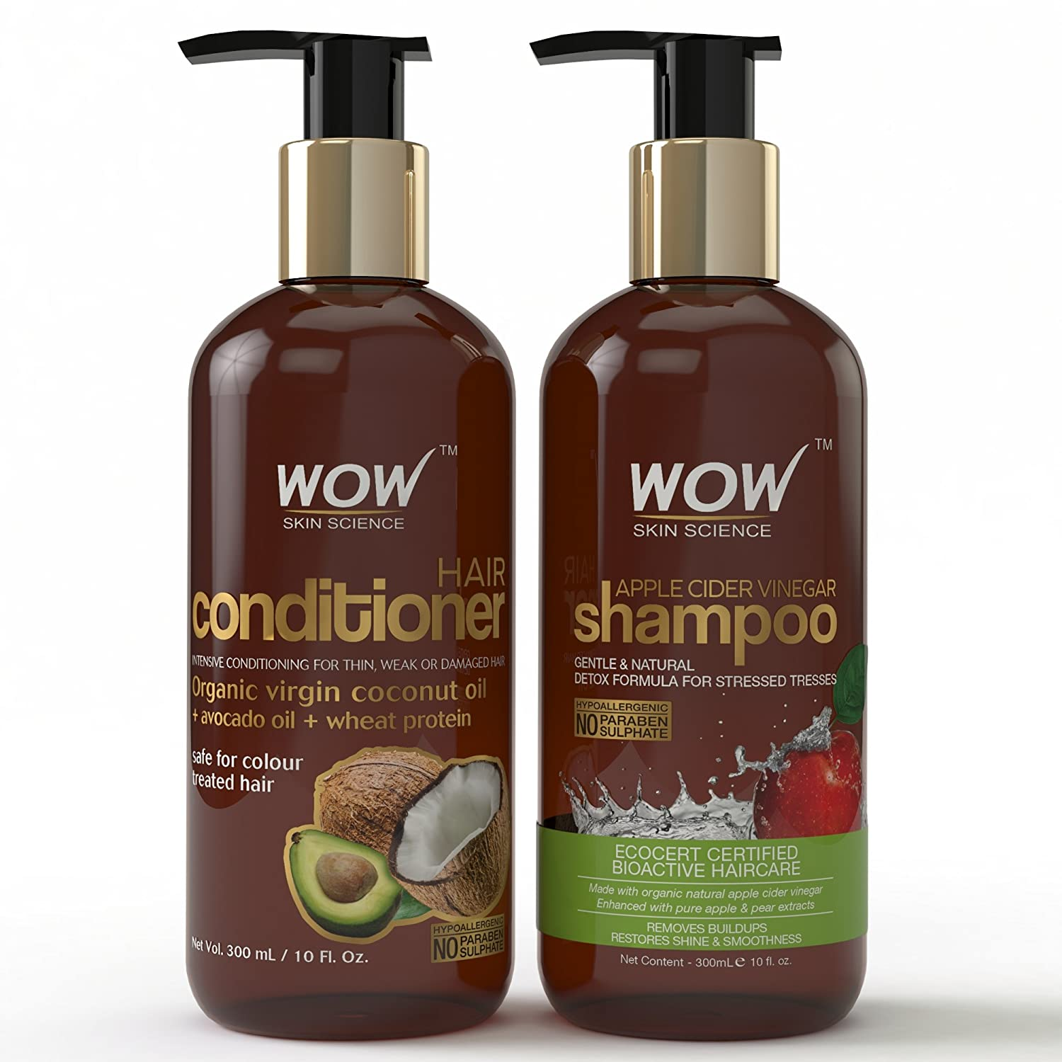 Wow Apple Cider Vinegar Hair Shampoo and Wow Hair Conditioner Set- Clarifying, Damage Repair, Antifungal, Anti Bacterial, Vegan- no Sulphate or Paraben Chemicals- For Men and Women (10 fl Ounces Each- 1 Pack Combo)