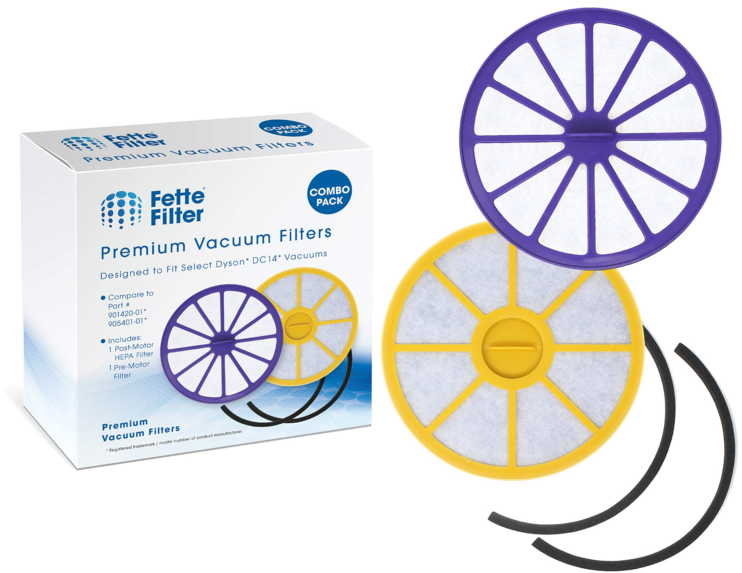 Fette Filter - Pre-Motor and Post-Motor HEPA Vacuum Filters Compatible with Dyson DC14. Compare to Part # 901420-01, 905401-01, 923480-01. (Combo Pack)
