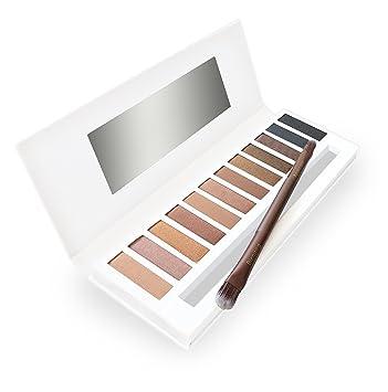 lagure eyeshadow palette & double-ended brush - matte & shimmer 12 colors -  best