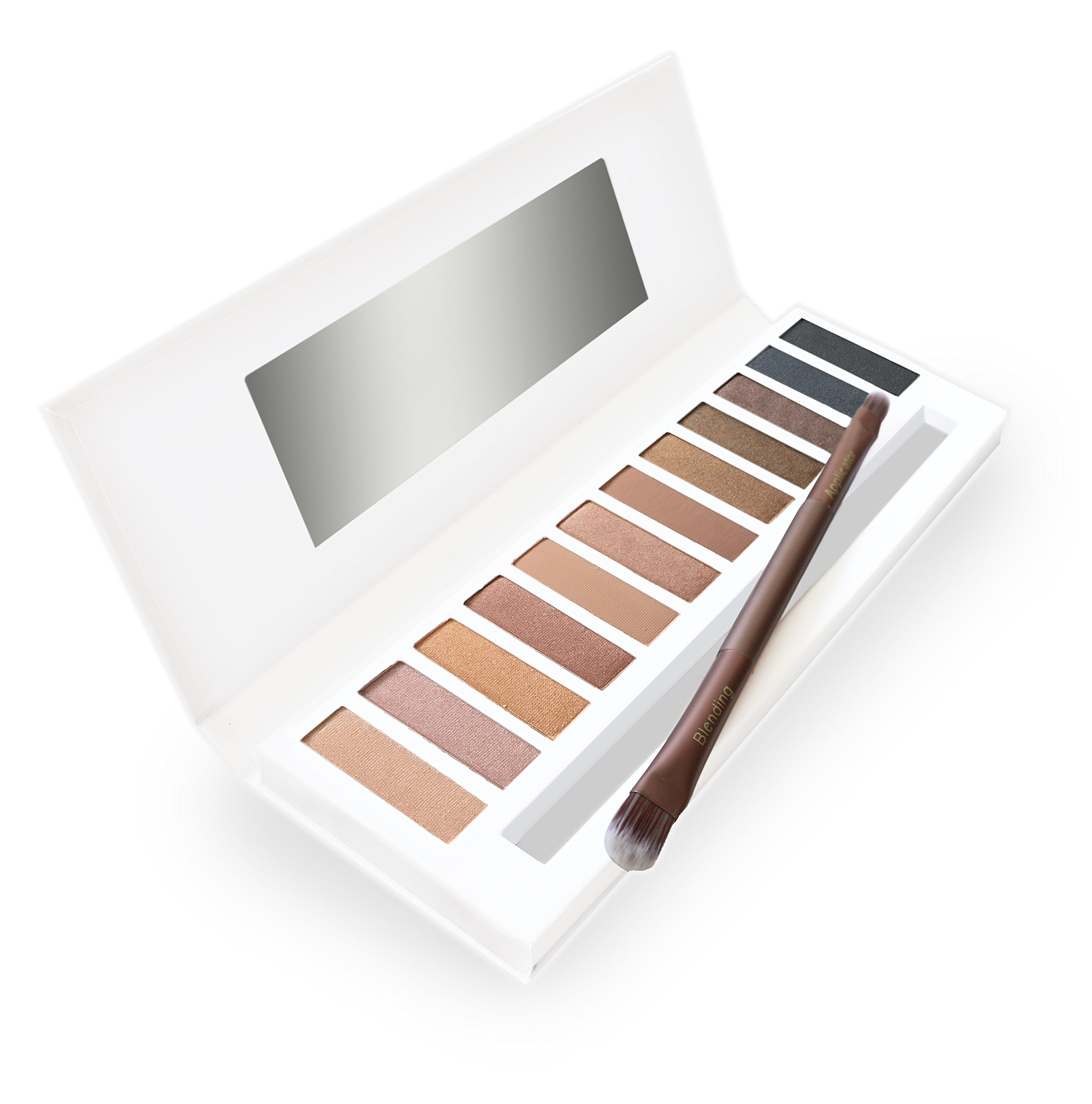 Lagure Eyeshadow Palette & Double-ended Brush - Matte & Shimmer 12 Colors - Best for Natural, Bronzed or Smokey Eye Makeup - Highly Pigmented, Vegan, Cruelty Free