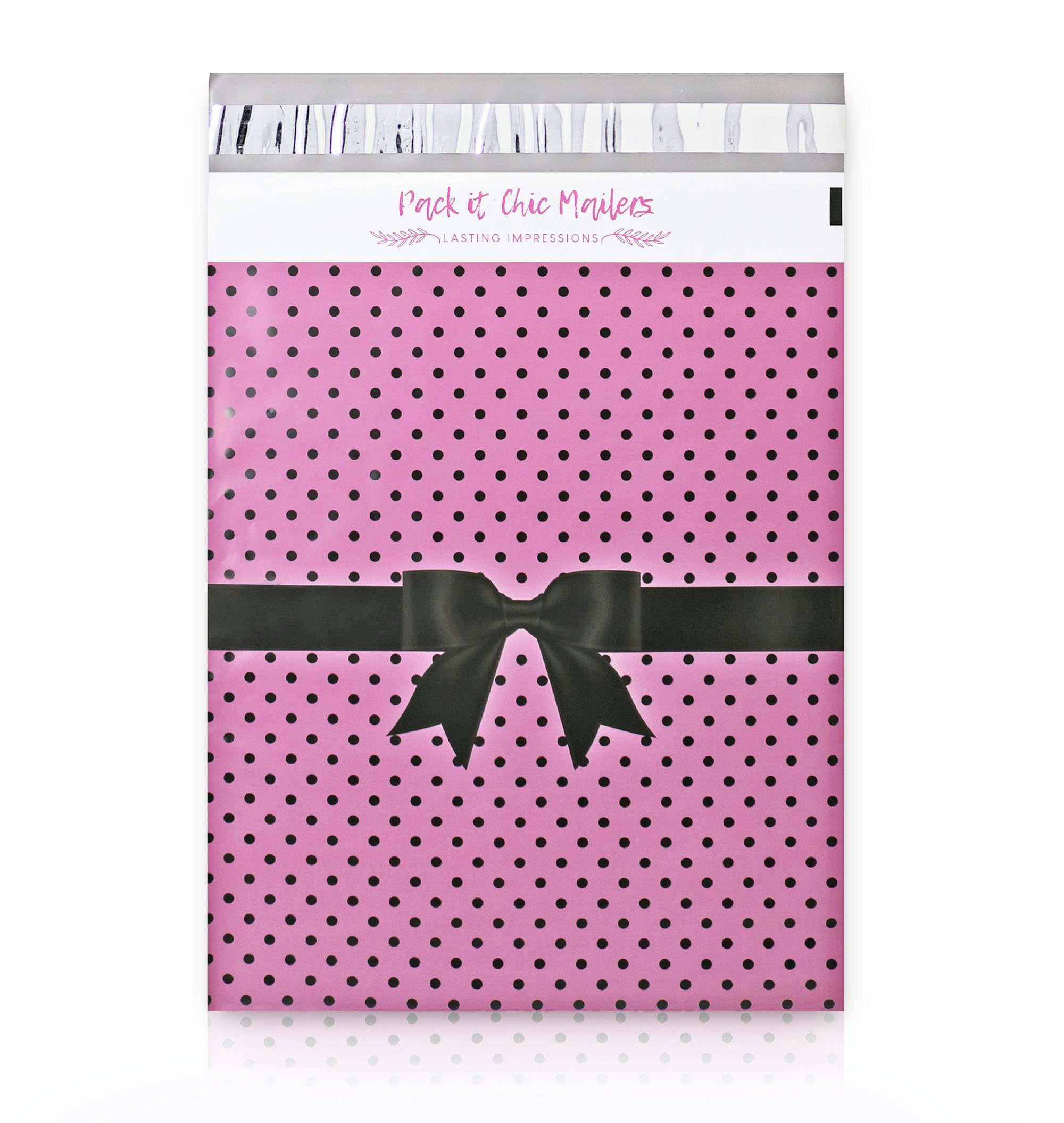 """Pack It Chic - 10"""" X 13"""" (100 Pack) Pink Polka Dot Ribbon Poly Mailer Envelope Plastic Custom Mailing & Shipping Bags - Self Seal (More Designs Available)"""