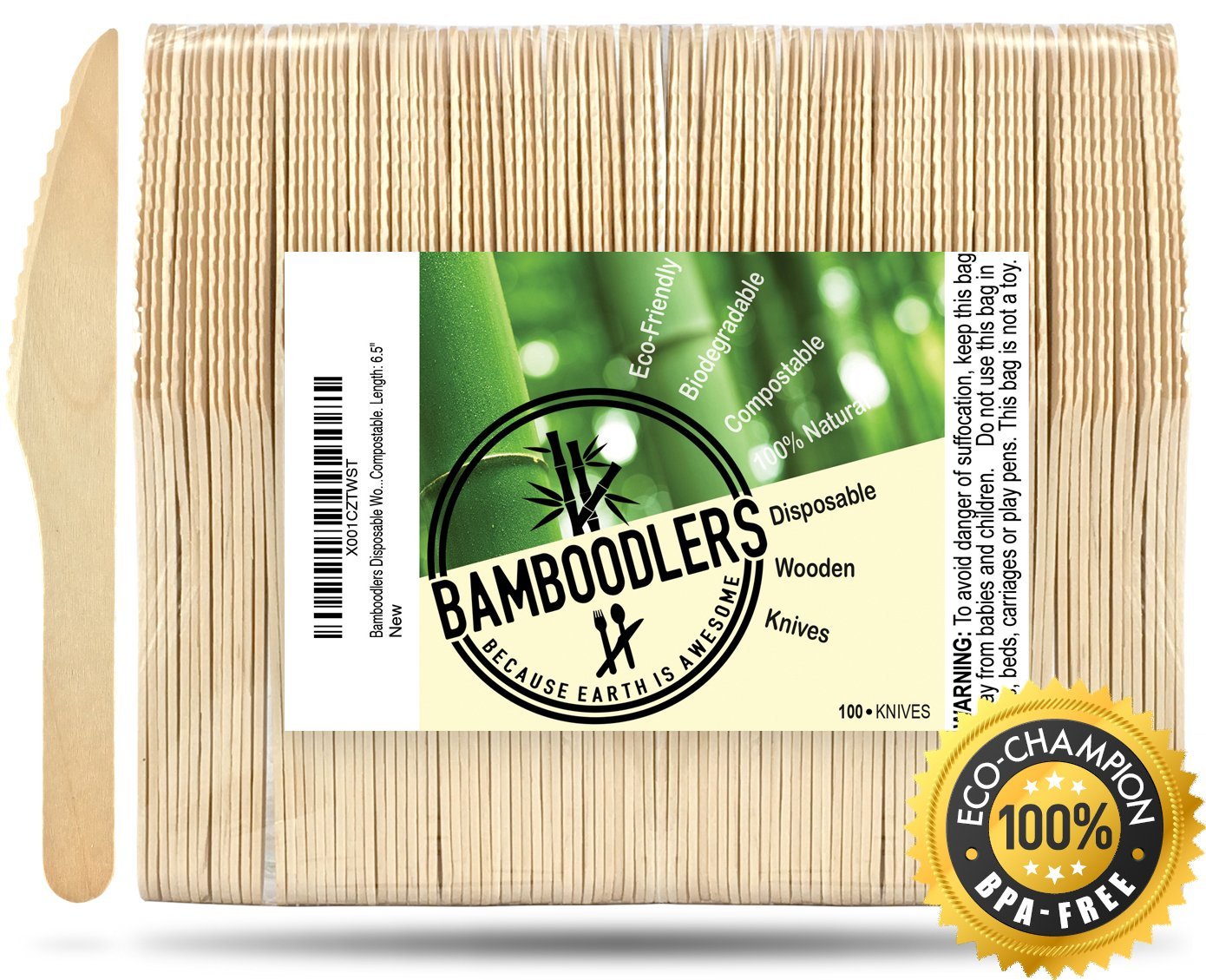 Disposable Wooden Knives by Bamboodlers | 100% All-Natural, Eco-Friendly, Biodegradable, and Compostable - Because Earth is Awesome! Pack of 100-6.5'' Knives. by BAMBOODLERS