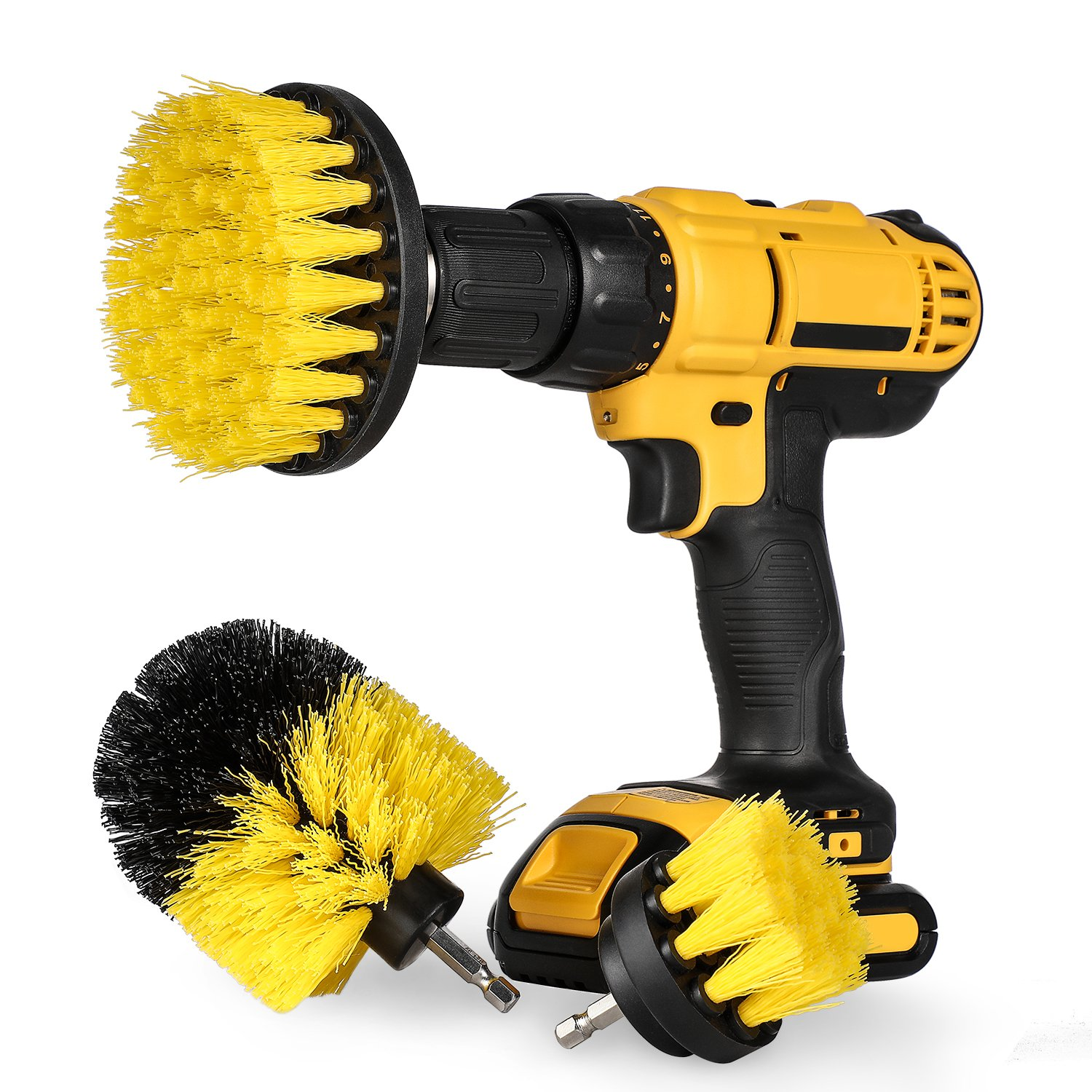 Drill Brush Attachment Set - Power Scrubber Brush Cleaning Kit - All Purpose Drill Brush for Bathroom Surfaces, Grout, Floor, Tub, Shower, Tile, Corners and Kitchen - Medium, Yellow Hiware