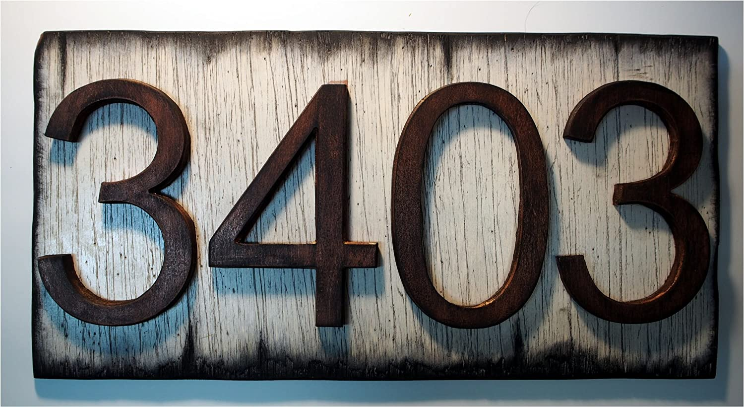 Custom Address Plaque | Rustic House Address Signs | Rubbed bronze-colored numbers on Antique white plaque, Made of distressed Wood | House numbers, address sign, cabin, cottage, housewarming gift