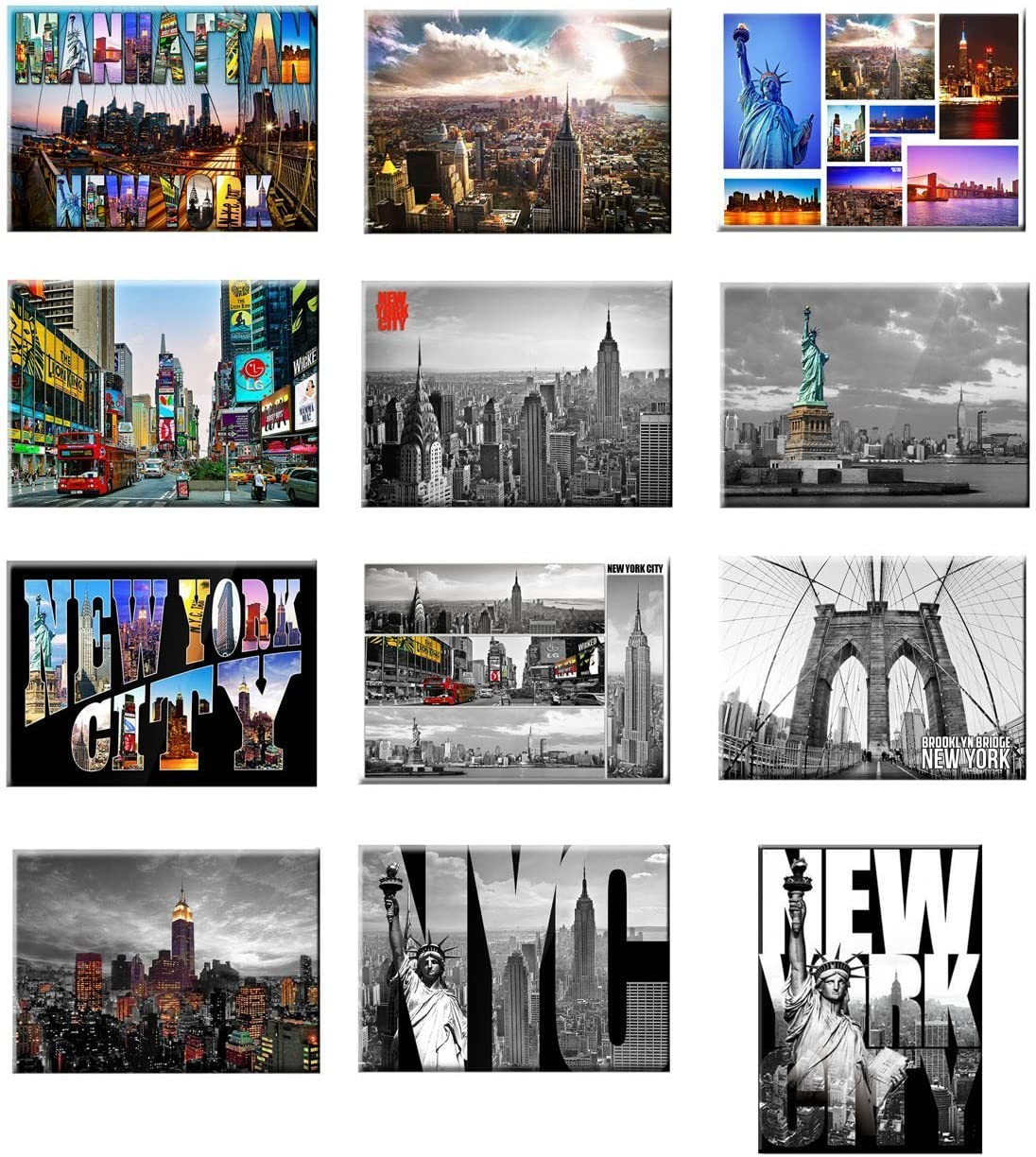 12 set New York NYC Souvenir Photo Picture Fridge Magnets 2 x 3 inch - Pack of 12