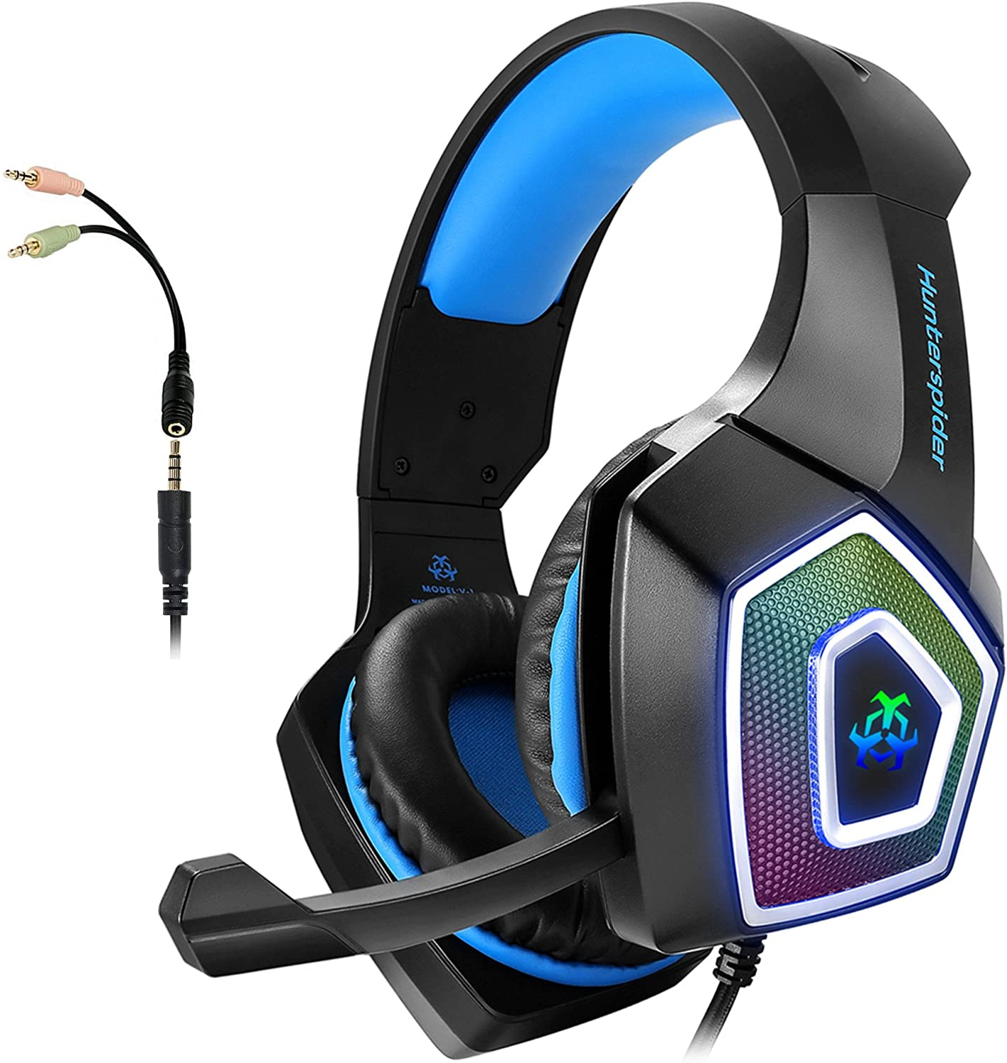 Gaming Headset with Mic for Xbox One PS4 PC Switch Tablet Smartphone, Headphones Stereo Over Ear Bass 3.5mm Microphone Noise Canceling 7 LED Light Soft Memory Earmuffs(Free Adapter)