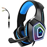 Gaming Headset with Mic for Xbox One PS4 PC Switch Tablet Smartphone, Headphones Stereo Over Ear Bass 3.5mm Microphone…