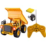 WolVol 6 Channel Electric Rc Remote Control Full Functional Dump Truck Toy with Lights (Comes with all the Batteries and battery Charger)
