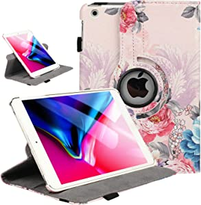 iPad Mini 1/2/3 Case 360 Degree Rotating Stand Case Cover with Auto Sleep/Wake Feature Smart PU Leather Cover for iPad Mini 3 case/ipad Mini 2 case/ipad Mini 1 case(Peony Flowers)