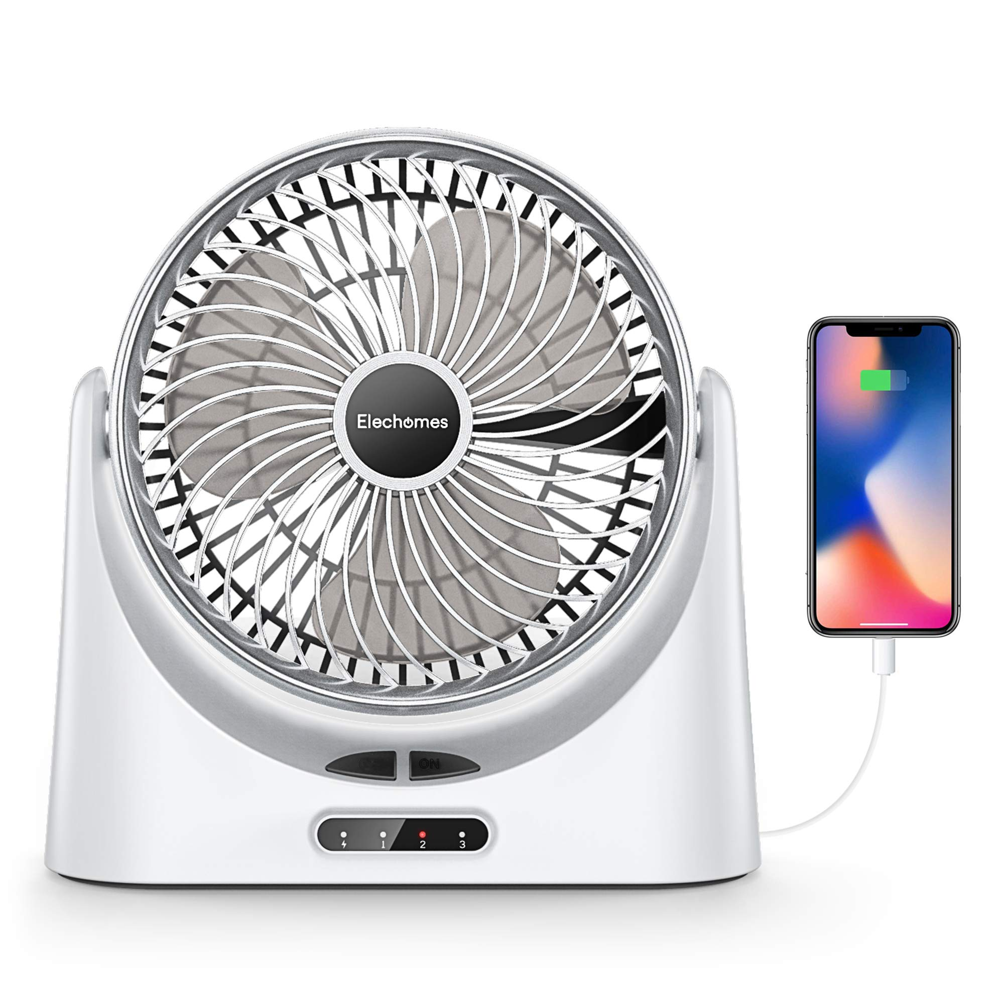 Elechomes USB Desk Fan Small Personal Air Circulator Fan Portable Electric Table Desktop Fan Rechargeable Travel Fans for Camping Office Room Outdoor, with Power Bank Function and LED Light, 10'' White