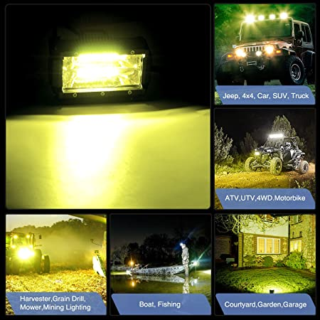 2 Year warranty Nilight Led Light Bar 2 PCS 5Inch 72W 10800Lumens Yellow Flood Beam Fog Work Driving Lamps Off Road Pod Lights for Trucks Offroad Jeep ATV UTV SUV Boat Marine Motorc Lighting