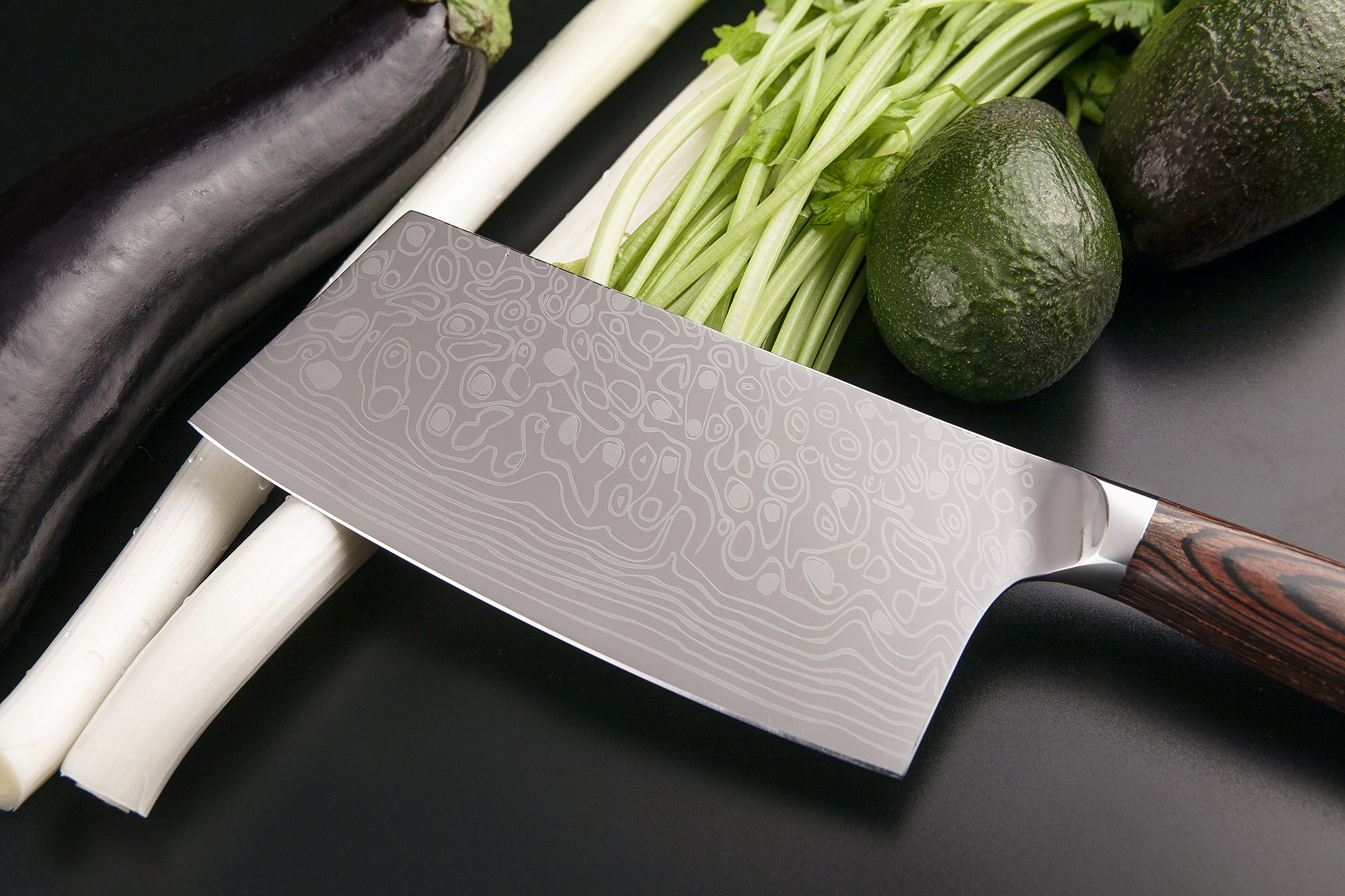 EKUER 7-Inch Chinese Chef's Meat Chopper Cleaver Butcher Vegetable Knife for Home Kitchen or Restaurant,German High Carbon Stainless Steel by EKUER (Image #7)