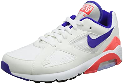 NIKE Men's Air Max 180, White/Ultramarine-Solar RED, ...