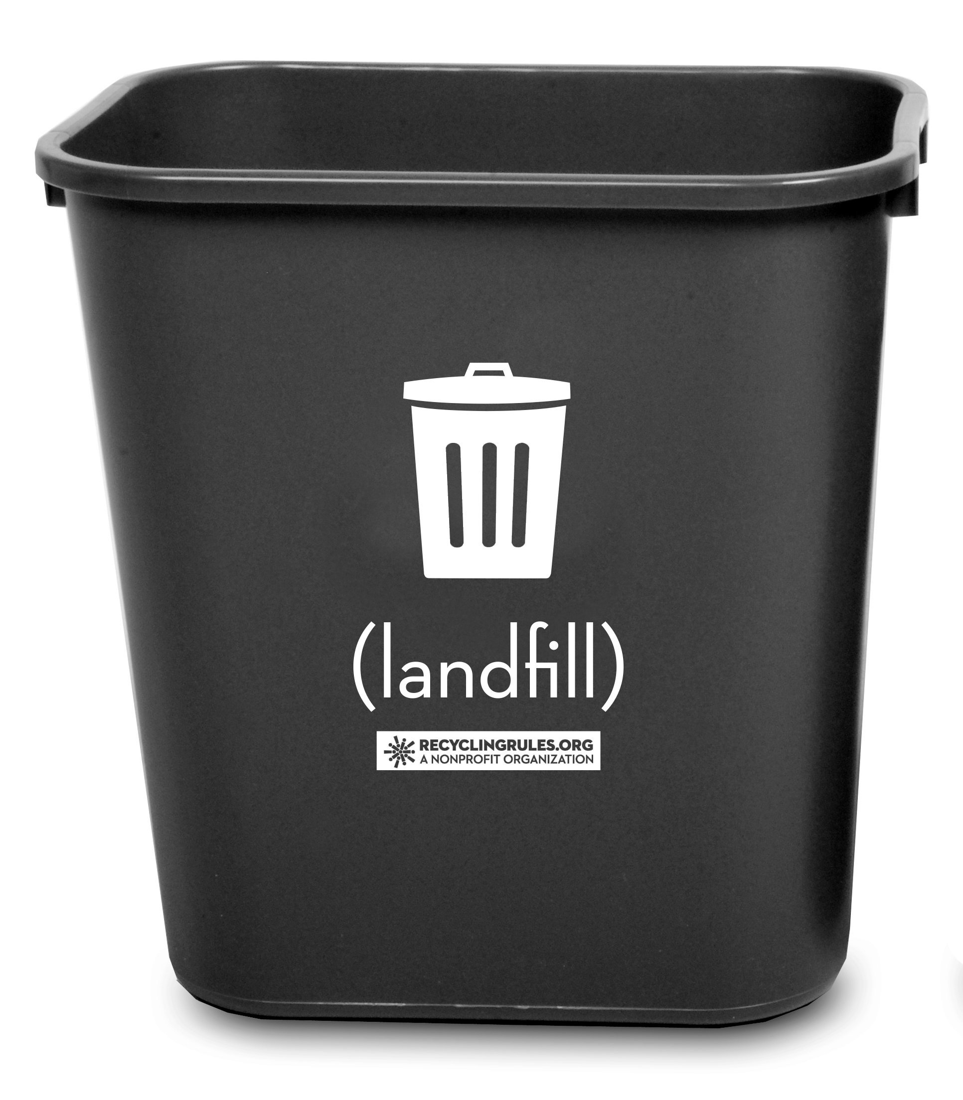 Deskside Trash Wastebasket Container in Sturdy Black Plastic, Small, 13-5/8 quart (3.4 gallon), Pack of 30 ($6 each) – Compare to Rubbermaid Commercial by Recycling Rules