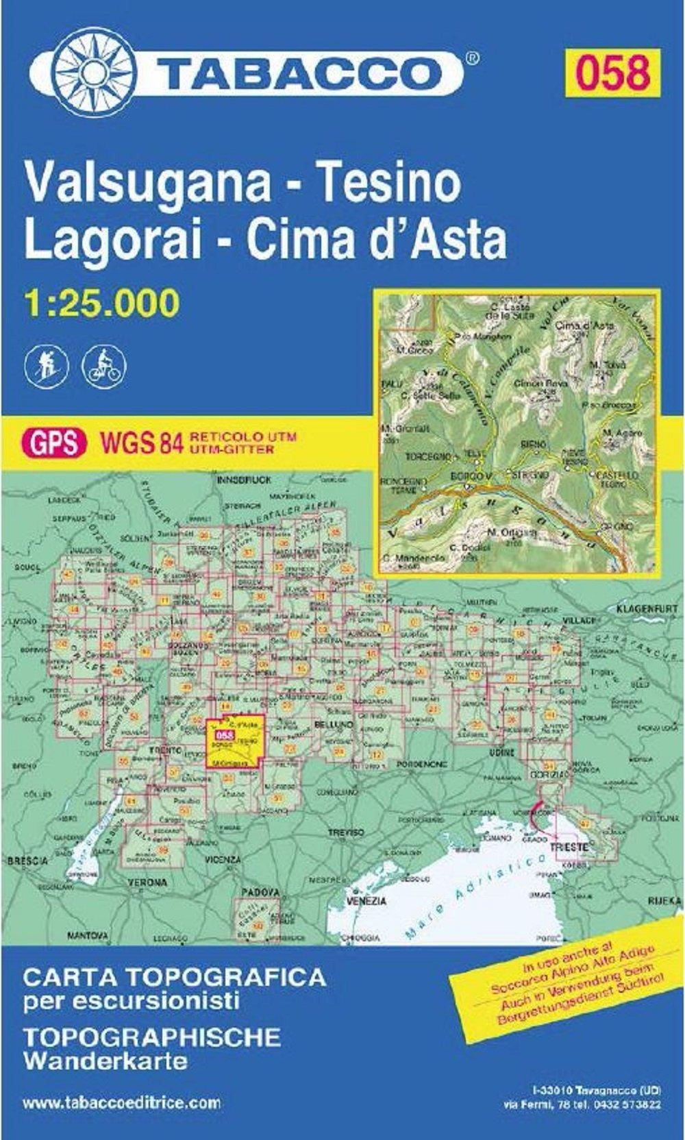 Tabacco Wandern 1 : 25 000 Valsugana - Tesino - Lagorai - Cime d'Asta