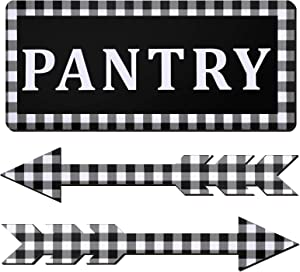 Jetec Pantry Wooden Sign with 2 Pieces 15.7 x 7.1 inches Rustic Wooden Arrow Sign Wooden Pantry Sign Wall Decor Black and White Rustic Buffalo Plaid Pantry Wall Sign for Vintage Farmhouse Living Room