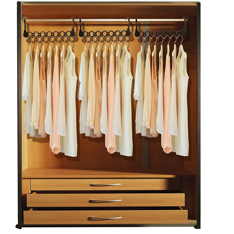 6 PACK IPOW Plastic Clothes Hangers Hook Rack Closet Clothing Organizer