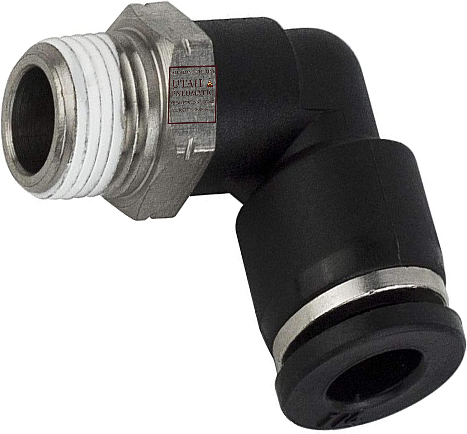 MacCan Pneumatic PL5//16-N2 Male Elbow 5//16 Tube OD x 1//4 NPT Thread Push to Connect Fittings Pack of 10