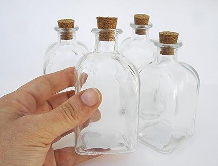 De plástico botella de cristal con tapón de corcho, 100 ml capacidad, forma cuadrada
