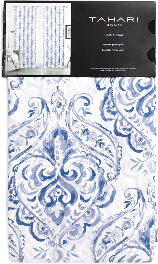 Tahari Window Panels Draperies Curtains Set of 2 Boho Floral Paisley Blue /& Gray