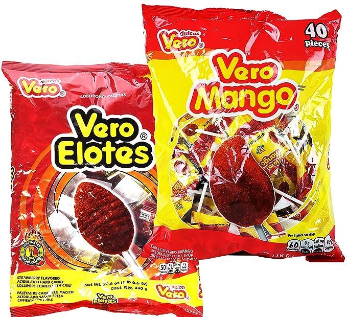 Vero Elotes Paletas Sabor Fresa y Vero Mango Con Chile Surtido - Pops de  Chile de caramelo duro mexicano 40 unidades cada uno - Variedad Pack de 2 ( Mango & Elotes): Amazon.com: