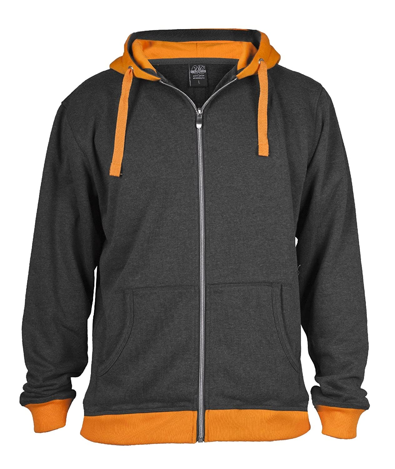 "Urban : ""Light Fleece Zip Hoody"" Size: XL, Color: charcoal-orange ...TB254"