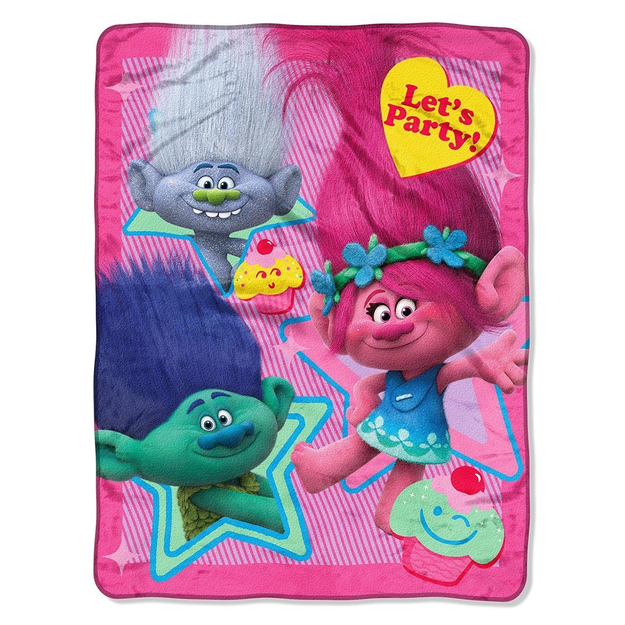 DreamWorks Trolls 'Lets Party' Plush Throw Blanket - 46 in. x 60 in. The Northwest Company 10983490