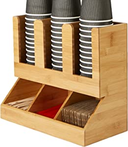 Mind Reader 6 Compartment Bamboo Upright Coffee Breakroom Condiment and Cup Storage Organizer, Brown