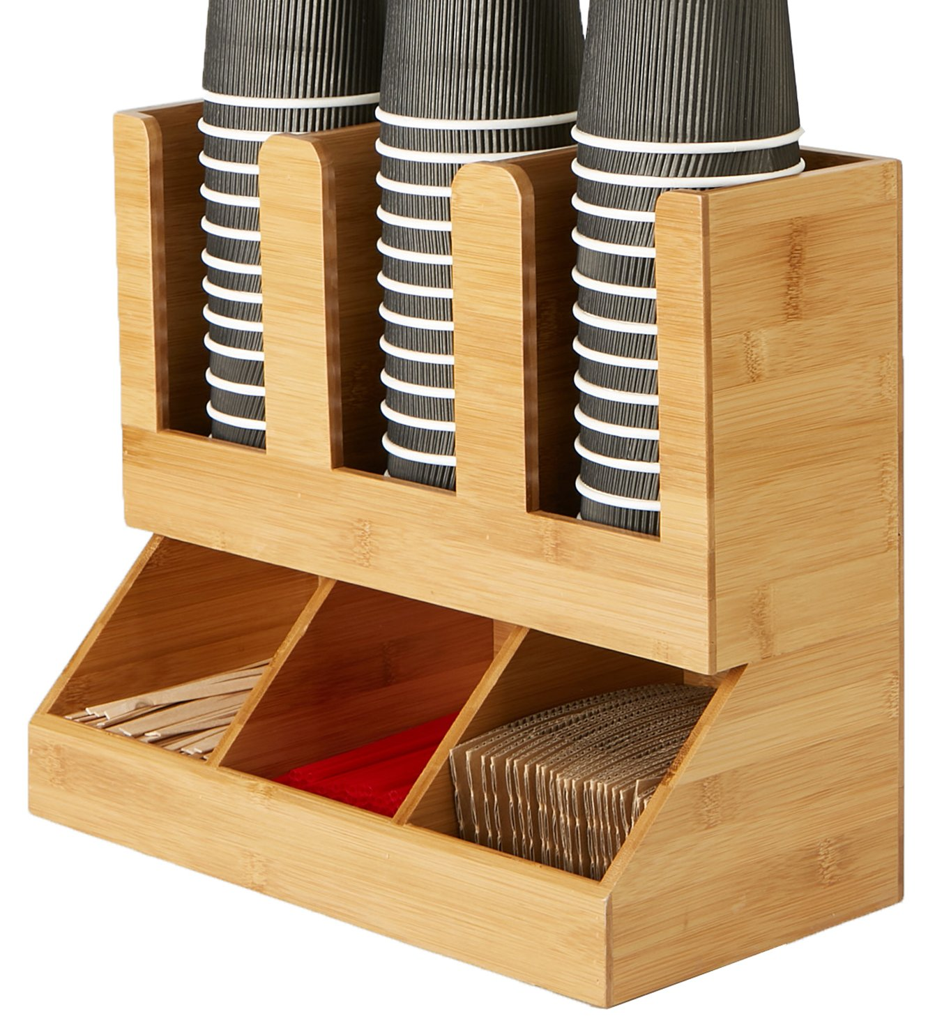 Mind Reader 6 Compartment Upright Breakroom Coffee Condiment and Cup Storage Organizer, Black UPRIGHT6-BLK