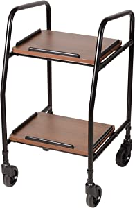 DMI Adjustable Height Rolling Utility Serving Tray Portable Table Food Cart Trolley, 2 Level Trays, 4 Wheels, Black and Silver