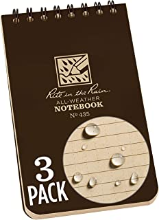 """product image for Rite in the Rain All Weather Top-Spiral Notebook, 3"""" x 5"""", Brown Cover, Universal Pattern, 3 Pack (No. 435-3)"""