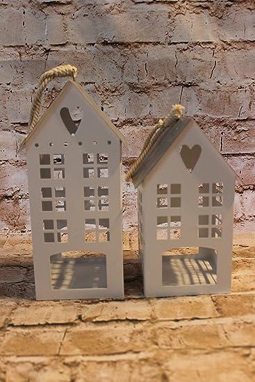 Laterne Windlicht Kerzenhalter Metall Haus Deko weiß mit grauem Dach ...