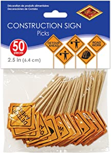 Beistle Construction Signs Picks, 2 1/2-Inch, Orange/Black