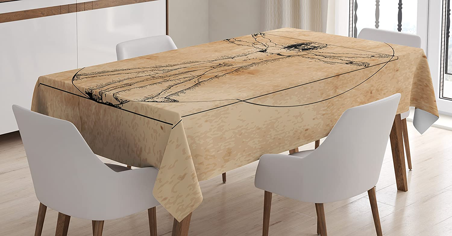 """Ambesonne Human Anatomy Tablecloth, Medieval Vitruvian Man Crosshatching Famous Italian Painting Renaissance Body Art, Dining Room Kitchen Rectangular Table Cover, 52"""" X 70"""", Sepia"""