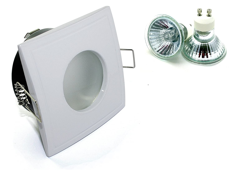 13er Set Einbaustrahler Aquarus-S Eckig 230V IP65 Farbe: Weiß inkl. Hochvolt GU10 Fassung + 50W Halogenlampe