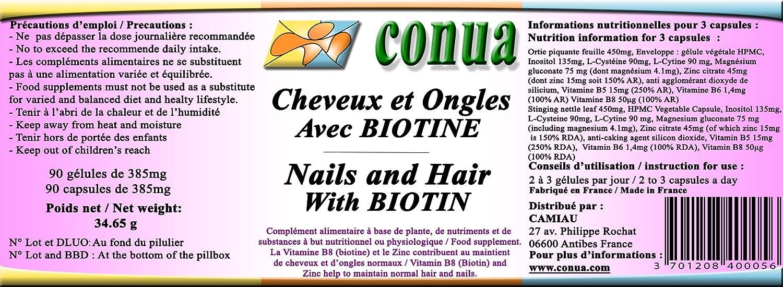 Cabello fuerte uñas y piel con BIOTIN + ZINC, ortiga, vitamina B5 B6 B7 B8, magnesio, L-cisteína, L-Cytin Cápsulas vegetales: Amazon.es: Salud y cuidado ...