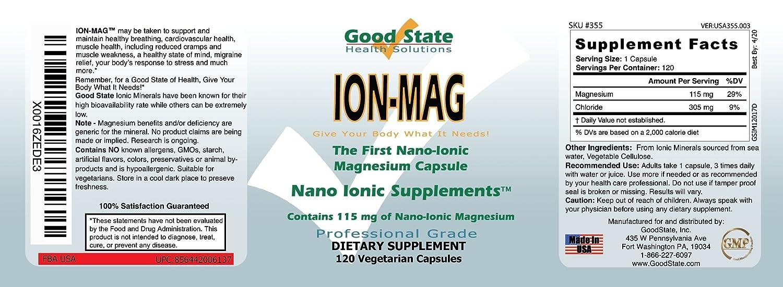 Good State - mg de magnesio iónico 115 ion-Mag. - 120 cápsulas vegetarianas: Amazon.es: Salud y cuidado personal