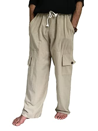 Men's 100% Cotton Cargo Pants One Size Baggy Pants Drawstring ...