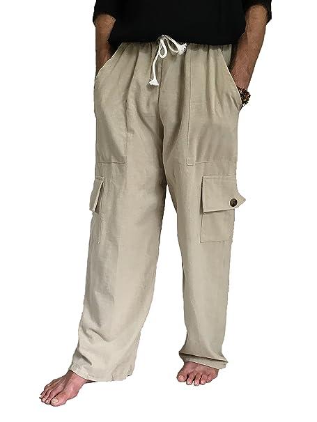 792eae3f39c Love Quality Men s 100% Cotton Cargo Pants One Size Baggy Pants Drawstring  Elastic Waist (
