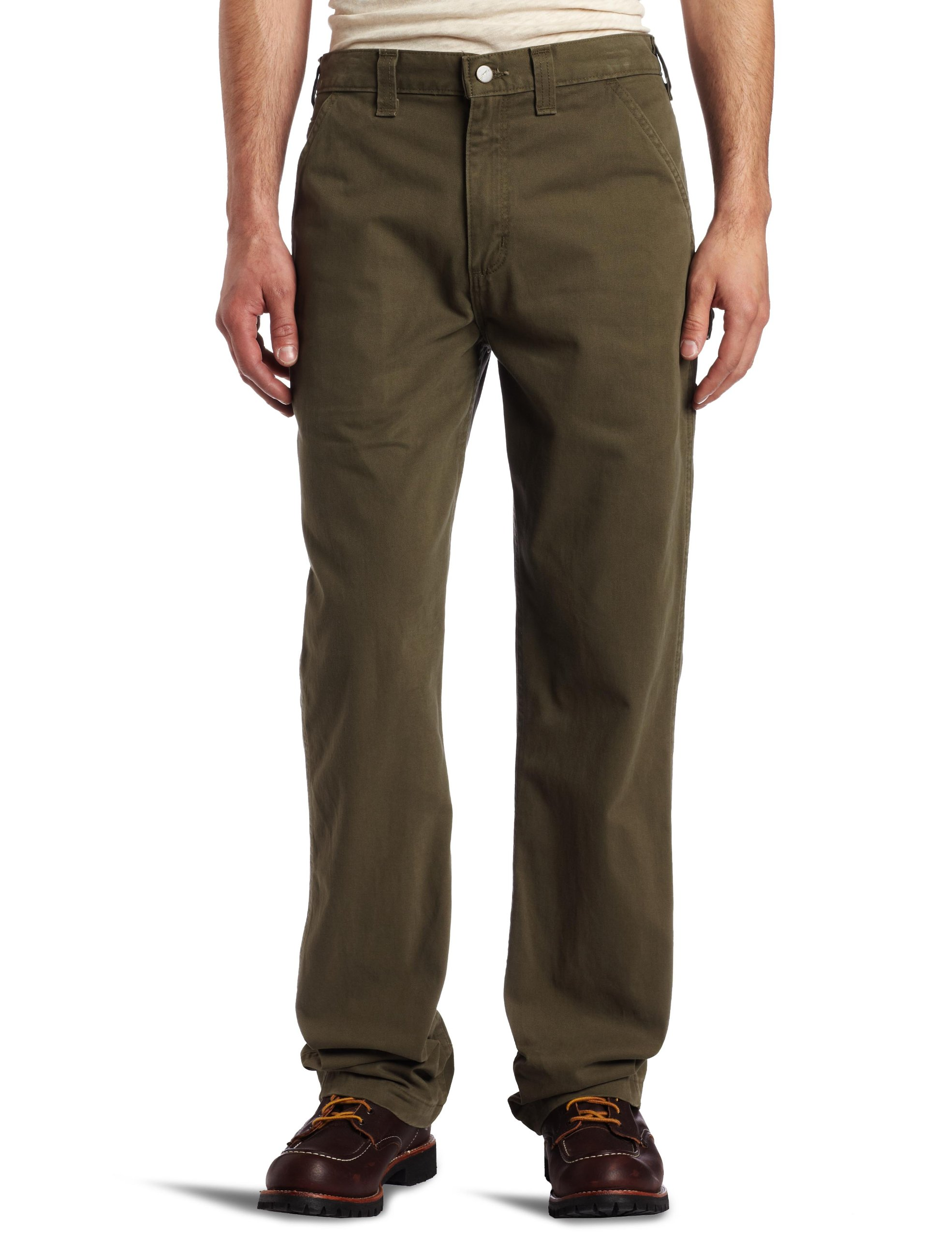 Carhartt Men's Relaxed Fit Washed Twill Dungaree Pant, Army Green, 42W x 30L by Carhartt