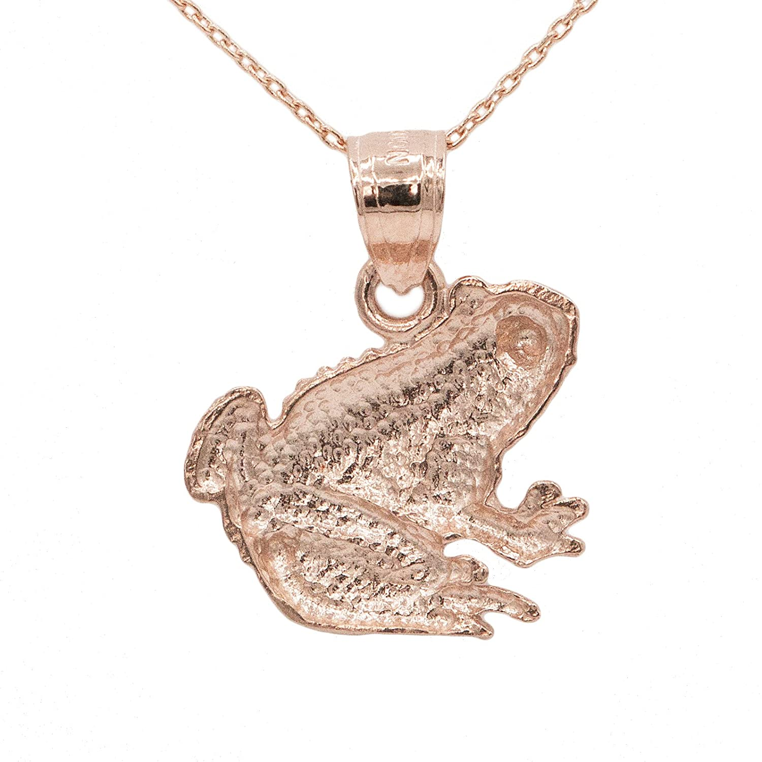 Ice on Fire Jewelry 10k Rose Gold Frog Pendant