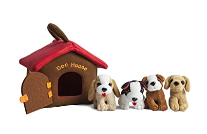 Amazon Com Puppy Dog House Carrier With 4 Barking Puppies Playset