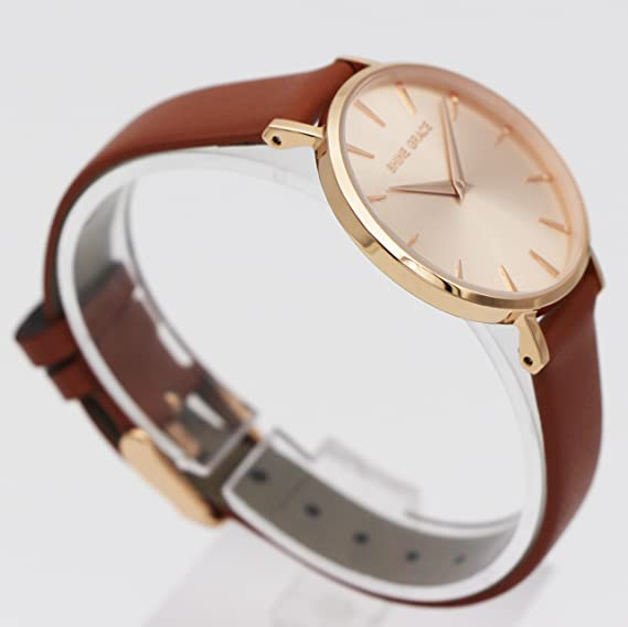 Amazon.com: SHINE GRACE 32mm Classic Ultra-thin Womens Watches Rose Gold And Brown Quartz Watches Small Dial Watches With 14mm Genuine Soft Leather Band …