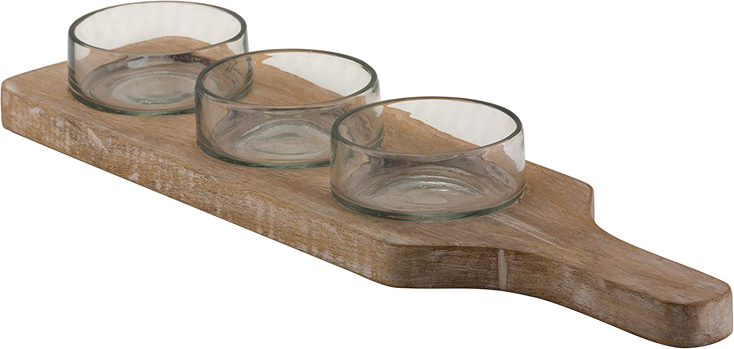 Amazon Com 10 Strawberry Street 4 Piece Telluride Condiment Tray With Round Glass Bowls White Wash Wood Clear Glass Kitchen Dining