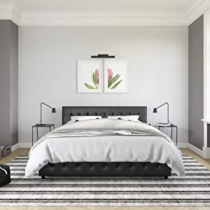 DHP Cambridge Bed w Storage, King Size, Black Faux Leather Upholstered