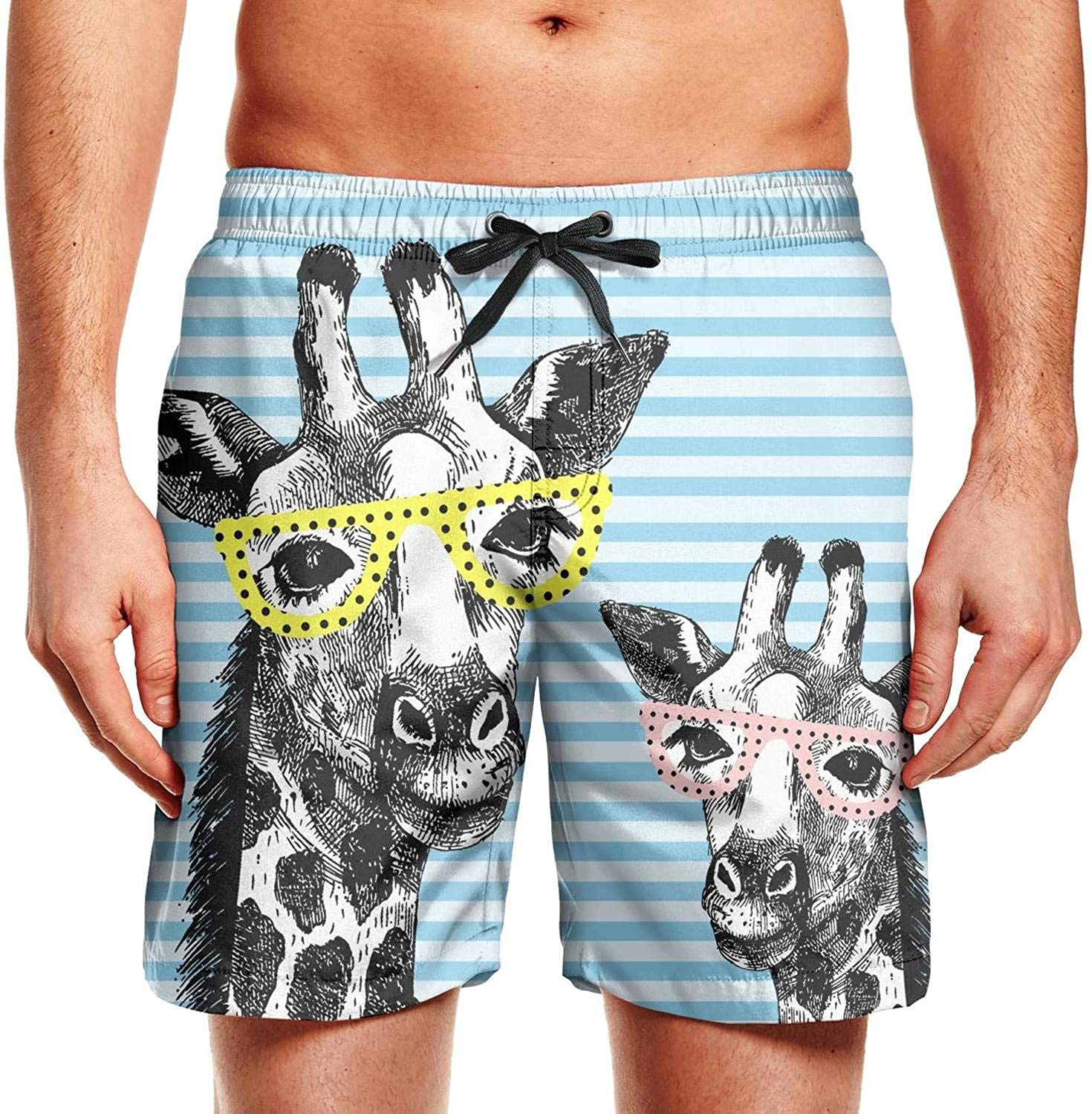 Mens Summer Cool Quick Dry Board Shorts Cartoon Giraffe with Glasses Striped
