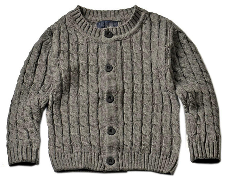 Betusline Baby Boy Girl Knitted Cardigan Sweater Coat Top Grey 6 Years